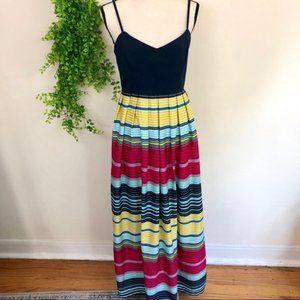 Ann Taylor Pleated Empire Waist Striped Maxi Dress